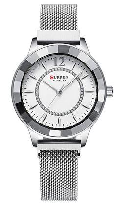 montre pour femme blanche et argentee de la marque Curren modele a quartz analogique