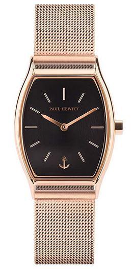 montre pour femme de la marque Paul Hewitt modele Moderne Edge avec cadran en forme originale noir et bracelet en acier dore