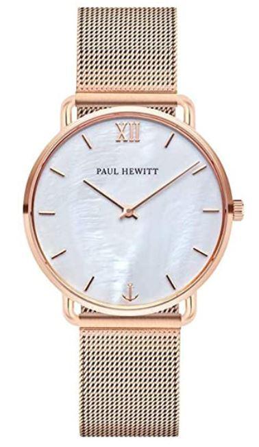 montre pour femme de la marque Paul Hewitt modele miss Ocean Pearl avec bracelet en acier dore et cadran sur fond blanc de nacre