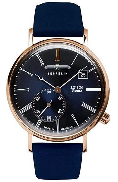 montre pour femme de la marque Zeppelin modele LZ120 Rome avec bracelet en cuir et boitier dore
