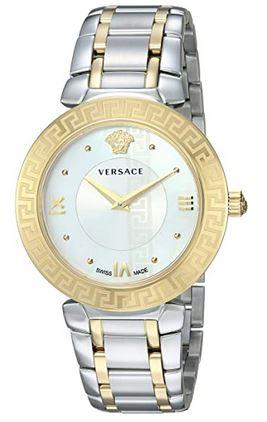montre pour femme de la marque italienne Versace avec un bracelet en maille argent et or ainsi quun cadran blanc avec des details dores