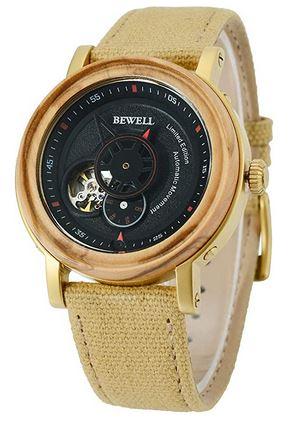 montre pour homme Bewell avec cadran rond en bois et bracelet en tissu clair jaunatre