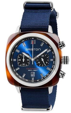 montre pour homme Briston entierement bleu avec les compteurs chronographes noirs Clubmaster Sport Acetate