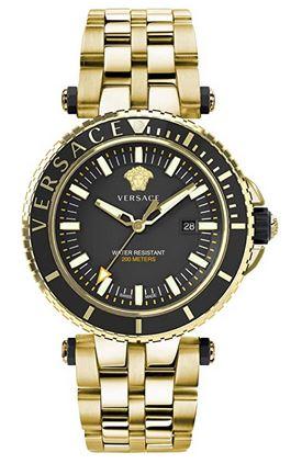 montre pour homme Versace V Race avec bracelet avec grosse maille couleur or ainsi que le boitier et cadran noir et dore