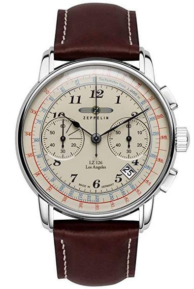 montre pour homme Zeppelin effet vintage avec un bracelet en cuir marron et un cadran chronographe effet passe