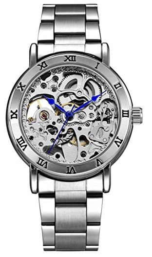 montre pour homme de la marque Alienwork avec mecanisme apparent couleur argent et grosse mailles en metal
