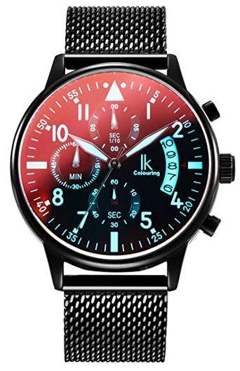 montre pour homme de la marque Alienwork avec un bracelet en maille fine sombre et un cadran chronographe sombre avec des details bleu