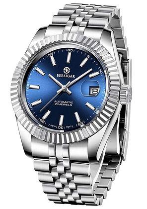 montre pour homme de la marque Bersigar avec un cadran bleu et un bracelet en maille dacier couleur argent