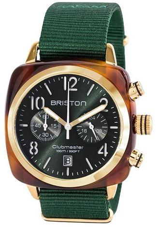 montre pour homme de la marque Briston avec un boitier dore un cadran noir et un bracelet vert fonce modele Clubmaster Classic Acetate