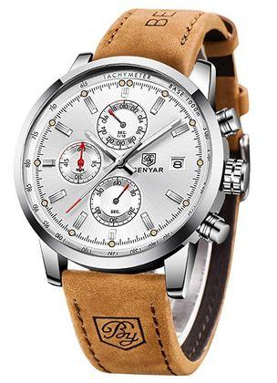 montre pour homme de la marque By Benyar avec un cadran couleur argente et un bracelet en cuir lisse marron clair