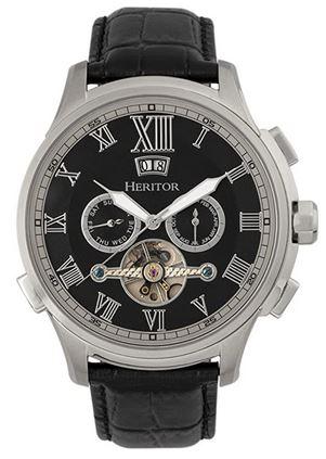 montre pour homme de la marque Heritor avec large cadran chronographe et bracelet de cuir noir lisse
