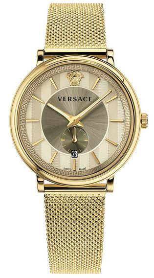 montre pour homme de la marque Versace modele V Circle en acier dore et un cadran dore avec le logo de la marque les autres details couleur or