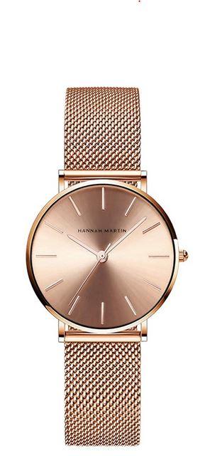 montre rose gold pour femme de la marque Hannah Martin modele analogique et minimaliste a quartz