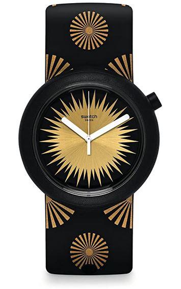 montre soleil Swatch pour femme noir et jaune modele PNB103
