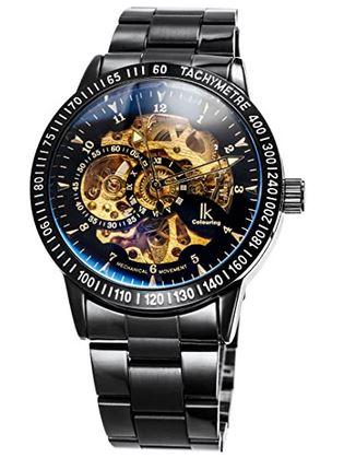 montre squelette de la marque Alienwork avec un mecanisme apparent dore et un bracelet noir parfait pour un style steampunk