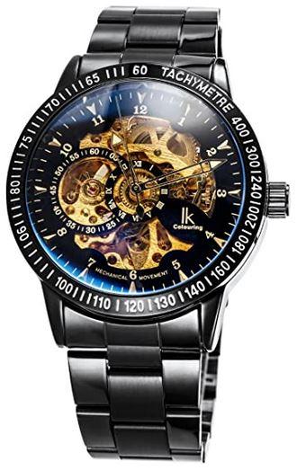 montre squelette de la marque Alienwork destinee aux hommes avec son mecanisme apparent dore et un bracelet en large maille couleur argent