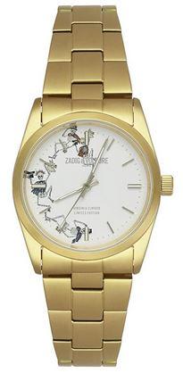 montre unisexe Zadig et Voltaire avec des petits squelettes sur le cadran blanc et un bracelet dore
