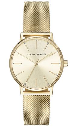 montre vintage pour femme de la marque Armani Exchange entierement en acier couleur or