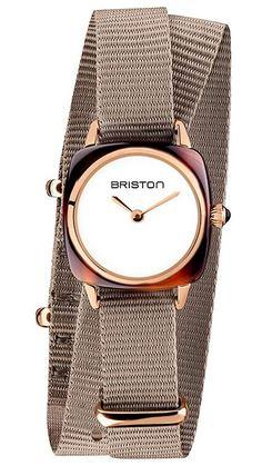 petite montre Briston Clubmaster Lady Acetate avec un cadran blanc et un petit bracelet marron gris en tissu
