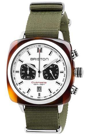 superbe montre Briston vert olive avec cadran blanc et chronographe noir bracelet vert clair modele Clubmaster Sport Acetate pour homme