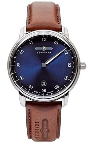 superbe montre mono aiguille de la marque Zeppelin destinee aux hommes avec un cadran bleu marine et un bracelet en cuir marron clair