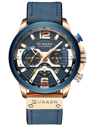 tres beau chronographe de la marque Curren destine aux hommes avec son bracelet en cuir bleu effet daim