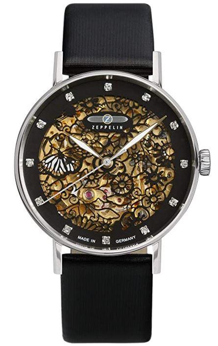 tres belle montre pour femme Zeppelin entierement noire avec mecanisme apparent dore modele 7461 2