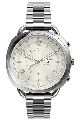 une montre tres retro pour femme de la marque Fossil entierement en acier inoxydable argente modele analogique a quartz