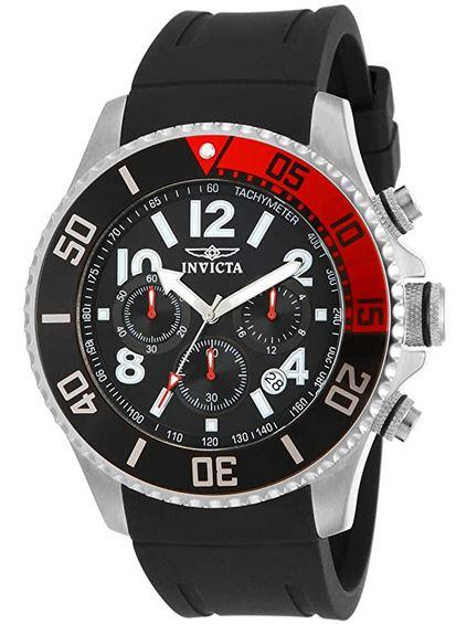 Invicta Pro Diver 15145 montre rouge et noir pour homme avec un bracelet en silicone noir