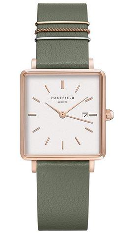 belle montre Rosefield carree avec un cadran blanc et un bracelet en cuir vert