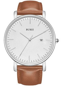 belle montre de la marque Burei pour homme avec un bracelet en cuir marron clair lisse et un cadran blanc minimaliste