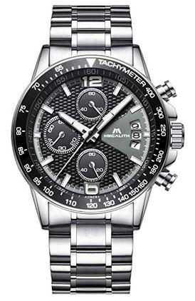 chronographe de la marque Megalith pour homme faite en acier inoxydable avec un cadran noir texture