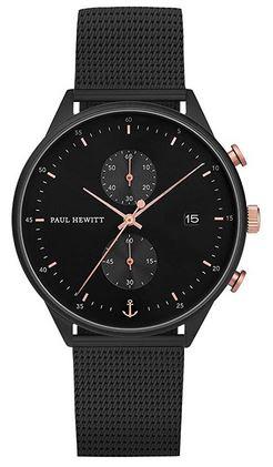 chronographe pour homme Paul Hewitt Line Black Sunray entierement noir avec des details en or rose et un bracelet en acier