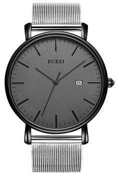 montre Burei pour homme avec un bracelet ultra fin en acier inoxydable et cadran noir tout simple