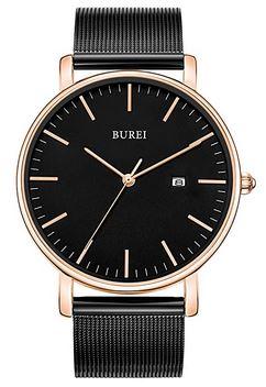 montre Burei pour homme avec un cadran minimaliste noir et rose gold ainsi quun bracelet noir en maille tres fine en acier inoxydable