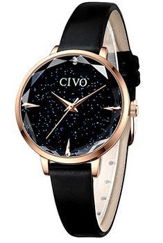 montre Civo pour femme entierement noire et rose gold avec un bracelet tres fin noir en cuir