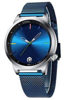 montre Civo pour homme avec cadran bleu nuit et bracelet en acier bleu clair details multicolor sur le cadran