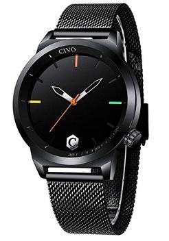 montre Civo pour homme toute noire avec des details multicolor sur le cadran