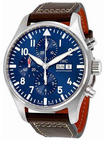 montre IWC automatique pour homme modele chronographe bleu IW377714 avec un bracelet en cuir marron fonce