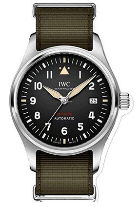 montre IWC automatique spitfire avec bracelet vert kaki destinee aux hommes