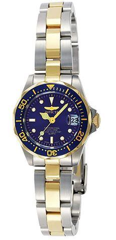 montre Invicta Pro Diver 8942 pour femme avec un bracelet argent et dore en acier inoxydable et un cadran bleu nuit