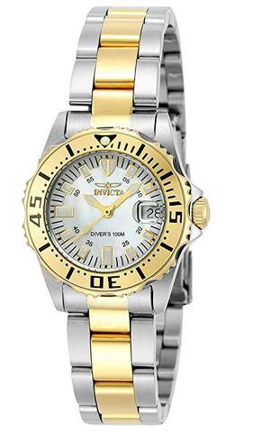 montre Invicta Pro diver 6895 en acier dore et argente pour femme