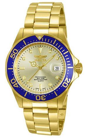 montre Invicta pour femme entierement doree avec le contour du boitier bleu modele Pro Diver 14124