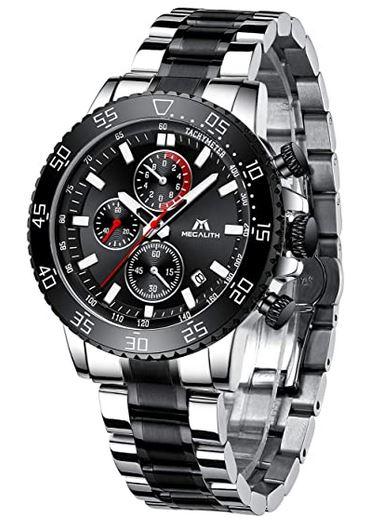 montre Megalith pour homme chronographe noir et gris avec un bracelet en acier inoxydable argente