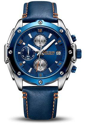 montre Megir bleu avec un bracelet bleu en cuir pour homme