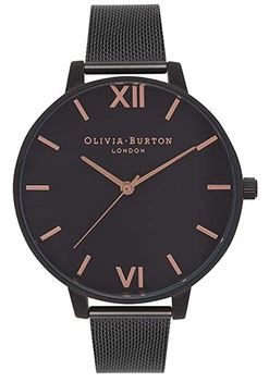 montre Olivia Burton London a destination des femmes modele tout noir et rose gold en acier inoxydable