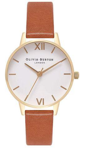 montre Olivia Burton pour femme avec un cadran sur fond blanc et contours dore ainsi quun bracelet en cuir marron lisse