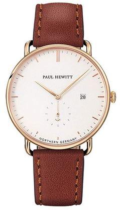 montre Paul Hewitt Grand Atlantic Line pour homme avec un cadran analogique blanc un boitier dore en metal et un bracelet en cuir marron