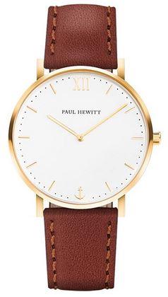 montre Paul Hewitt pour homme modele analogique avec un boitier dore un cadran blanc et un bracelet en cuir marron