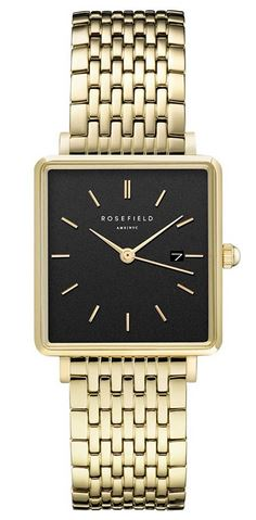 montre Rosefield feminine en acier dore avec un cadran carre noir modele analogique a quartz The Boxy